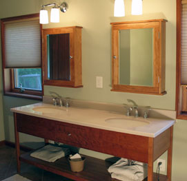 open vanity with 2 medicine cabinets