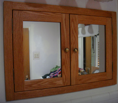 Recessed Double Door Medicine Cabinet Shown In Oak