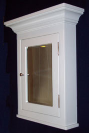 Cherry Medicine Cabinet With Paneled Door 6 Deep Recessed In White Enamel