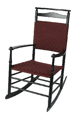 Shaker rocker with weaveback and shawl rail