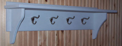 Utility shelf with hat & coat hooks