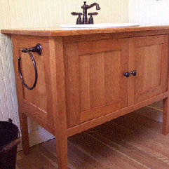 Marvelous Shaker Styled Cherry Bathroom Vanity